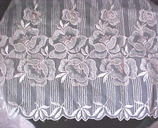 "Lace Embroidered Trim Blush Pink Roses on White 22"" Depth 10 Yards France New"