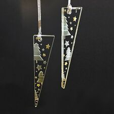 Spaceform Glass Pair Of Icicles Christmas Tree & Stars Decoration Xmas Ornament