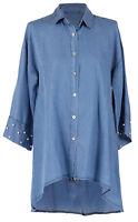 Womens Italian Button Up Pearl Detail Denim Shirt Tunic Shirt Top Plus Sizes