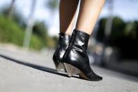 Zara Noir Feuilleté Talon Haut Cuir Bottines Taille UK3 EU36 US6