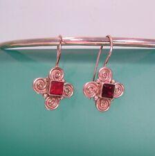 """1/2"""" Dainty Garnet Handmade 925 Sterling Silver Drop Earring"""
