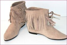 REPLAY Bottines Boots Daim Beige Franges T 38 TBE