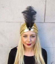 b3b840ddf31e6 Black Gold Ostrich Feather Turban Headpiece Fascinator 1920s Cloche 1940s  4142