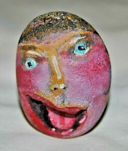 Original  Picasso Style Stone Art by Leean of Women with Open Mouth Paperweight