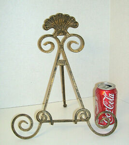 """NEW Decorative 13"""" Easel for Photo or Plate Display Antique Gold Iron"""