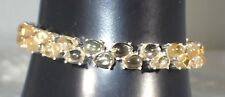 """NATURAL 7x5mm/38p YELLOW CITRINE 925 STERLING,14K GOLD PLATE 7.5"""" BRACELET   #73"""