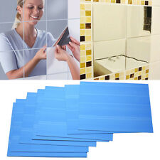 9Pcs Square Mirror Tile Wall Stickers 3D Decal Mosaic Home Room Mural Decal DIY