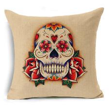 Skull Cotton Linen Fashion Sofa Throw Pillow Case Cushion Cover Home Decor 18x18 #3 Rose Skulls