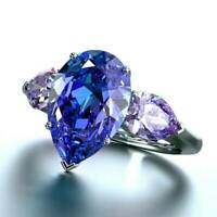 Stylish Pear Cut Sapphire Women Wedding Rings 925 Silver Ring Jewelry Size 6-10