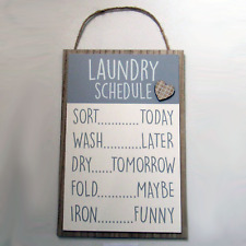 Plaque Laundry Rules Schedule Funny Utiltiy Room Kitchen Sarcastic Wooden Sign