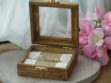 Rustic Country Barn Wedding Ring Box Holder. Wooden Ring Bearer Box Personalized