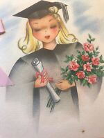 Vintage Greeting Card Graduation 1945 Girl Sister Cap Gown Hallmark Hall Bros