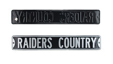 Oakland Raiders Country Licensed Authentic Steel 36x6 Black & Silver Street Sign