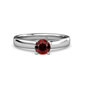 Red Garnet Solitaire Engagement Ring 1.05 ct in 14K Gold JP:78268