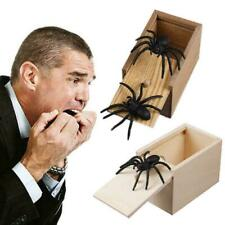 Kids Adult Funny Toy Prank Spider Wooden Scare Box Toy Office Gag Joke L9Q3