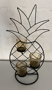 Pineapple Style Candle Holder In Metal & Glass 39 CM In A Black Finish RRP £29