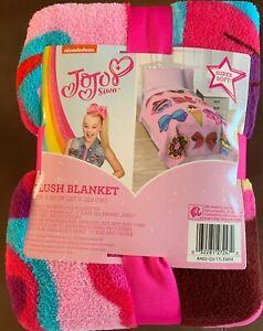 """Nickelodeon Jojo Siwa Follow Your Dreams Pink Plush 62"""" x 90"""" Twin Blanket"""