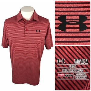 Under Armour Mens Medium Playoff Polo Striped Red Polyester Blend Stretch EUC