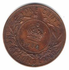 1936 Newfoundland Canada One Large Cent Copper Penny Coin A39