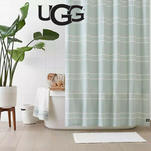 New UGG Devon 72 inch x 72 inch Shower Curtain in Blue White Crush Stripe NIP
