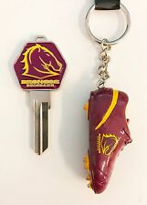 SET OF 2 BRISBANE BRONCOS NRL TEAM HOUSE DOOR KEY + RESIN BOOT KEYRING RING