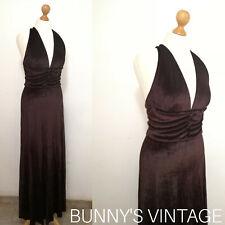 Vintage 70s as 30s luxe heavy brown velvet halter maxi dress hollywood glam uk10