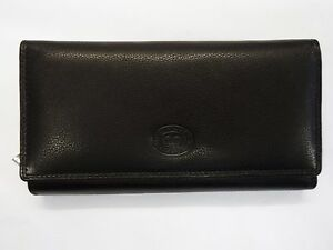 Leather Purse Wallet Organiser Extra Large Black Double Sided Top Brand RFID