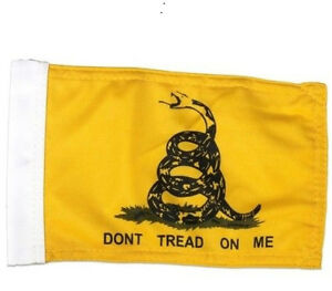 """6""""X9"""" GADSDEN FLAG DOUBLE SIDED KNIT NYLON WITH SLEEVE MOTORCYCLE /CAR"""