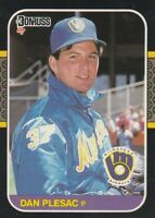 FREE SHIPPING-MINT-1987 Donruss Milwaukee Brewers Baseball Crd #214 Dan Plesac-2