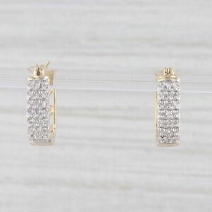 0.15ctw Diamond Heart Oval Hoop Earrings 10k Yellow Gold Snap Top Pierced