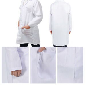 Child White Lab Coat Doctor Hospital Scientist School Fancy Dress Costume 55UK