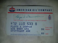 Vintage AMERICAN OIL COMPANY CREDIT CARD 1960s Standard Gas Service Station