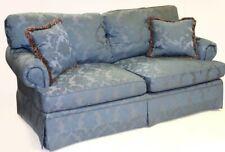 Southwood Custom Upholstered Sofa with Blue Damask Fabric