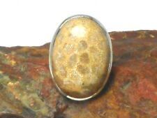 Fossilised   CORAL   Sterling  Silver  925   Gemstone  RING  -  Size :  M