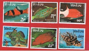 Laos #820-825  VF used  Fish  short set   Free S/H