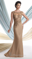 Beaded Appliqued Gown sz 6 Taupe Gold Mon Cheri Montage Cap Sleeve MOB Silk Lace