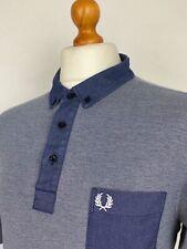 Fred Perry | Short Sleeve Oxford Trim Button Down Collar Polo Shirt XL|XXL Blue