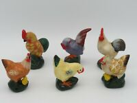Keramik Hühner Figuren 6 Stück, Ostern Figuren Konvolut