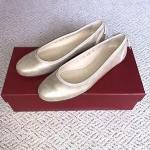 Salvatore Ferragamo Rias Ballet Flat Gold 36 / 6 NWB