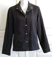 Aeros Kristen Blake Quilted Back Jacket Button Up Pop Up Collar Medium