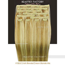 Double Weft Thick Deluxe 20 Inch Clip in 100 Remy Human Hair Extension Ash Blonde/ Cream Blonde Mix 200 Gram