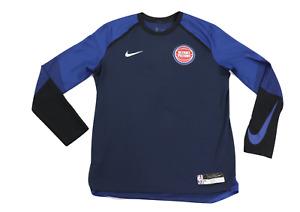 Nike NBA Detroit Pistons Game Worn Warm Up Long Sleeve Shirt Blue Large Tall