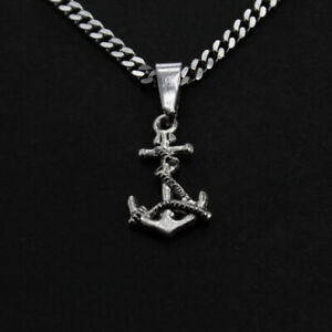 Stainless steel chain black anchor with pink roses Maritime