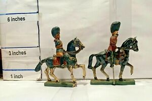 Composition Vintage Toy Soldier Lot of 2 Mounted Beefeater Guards Durso Belgium