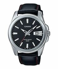 Casio Genuine Leather Band Men's Polished Wristwatches
