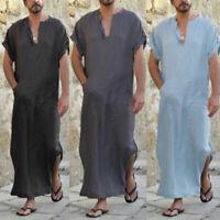 Mens Arab Baggy Kaftan Shirt Long Robe Ethnic Cotton Short Sleeve Top Loungewear