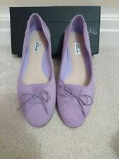 Clarks Lilac Suede ballet flats pumps with bows 4.5d 4.5 worn once, boxed