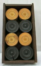Set of Antique Wooden Draught Counters in Rustic Wooden Box