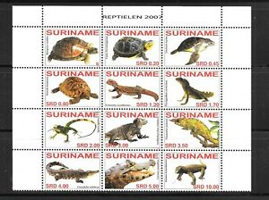 SURINAME Sc 1353 NH issue of 2007 - REPTILES - TURTLES - BLOCK OF 12