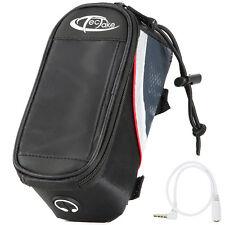 Bolsa funda frontal bicicleta manillar bolso bici móvil smartphone S negro-rojo